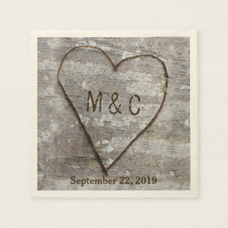 Rustic Carved Birch Heart Tree Wedding Initials Disposable Napkins