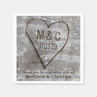 Rustic Carved Birch Heart Tree Wedding Initials Paper Napkin