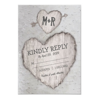 Rustic Carved Heart Birch Tree Wedding RSVP Card