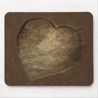 Rustic Carved Heart Oak Tree Slice Mouse Pad