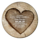 Rustic carved tree wood heart bridal shower card