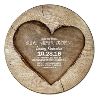 "Rustic carved tree wood heart bridal shower 5.25"" square invitation card"
