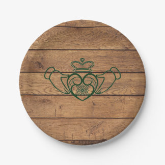 Rustic Celtic Claddagh 7 Inch Paper Plate