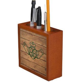 Rustic Celtic Claddagh Desk Organizer