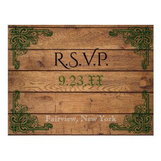 Rustic Celtic Claddagh RSVP Card Postcard