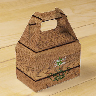 Rustic Celtic Claddagh Wood Texture Favor Box