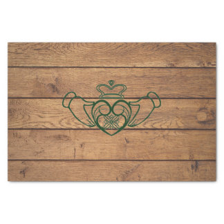Rustic Celtic Claddagh Wood Texture Tissue Paper