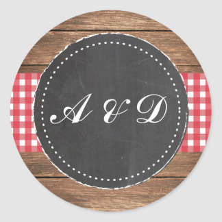 Rustic Chalk and Red Wood Stickers Labels