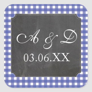 Rustic Chalk Blue Check Wedding Stickers Labels