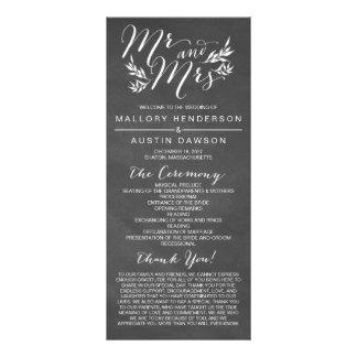 Rustic Chalk Floral Wedding Ceremony Program