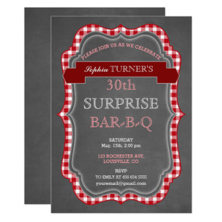 Rustic Chalk Gingham Surprise Birthday BBQ Invite