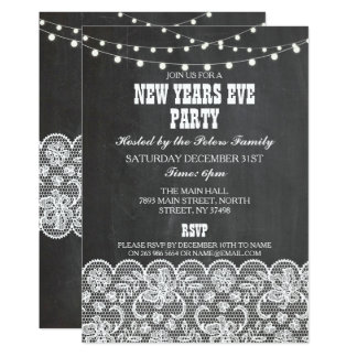 Rustic Chalk Lace  New Years Day Eve Invite