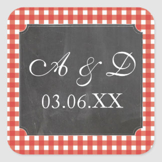 Rustic Chalk Red Check Wedding Stickers Labels