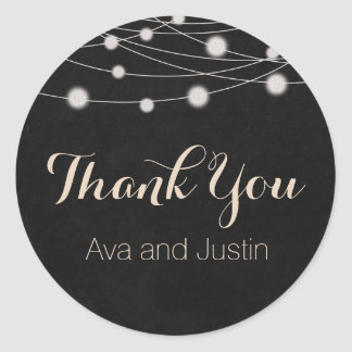 Rustic Chalkboard and String Light Thank You Seal Round Sticker