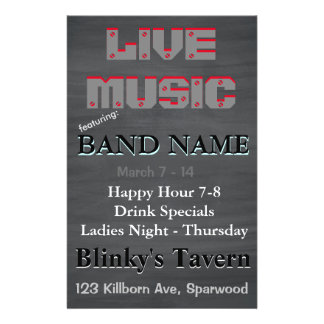 Rustic Chalkboard Bar Tavern Live Music 2 Full Color Flyer