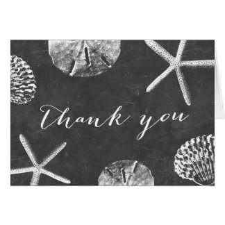 Rustic Chalkboard Beach Seashells Thank You Card