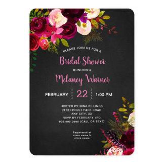 Rustic Chalkboard Burgundy Floral Bridal Shower Card
