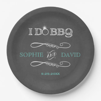 Rustic Chalkboard Burlap I DO BBQ Engagement Party 9 Inch Paper Plate