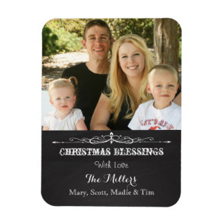 Rustic Chalkboard Christmas Blessing Photo Magnet