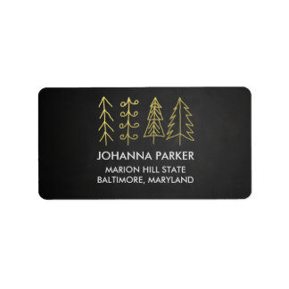 Rustic Chalkboard Christmas Trees Label