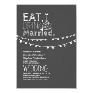 """Rustic Chalkboard Eat Drink And Be Married Wedding 5"""" X 7"""" Invitation Card"""