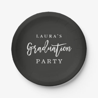 Rustic Chalkboard Graduation Party Paper Plate