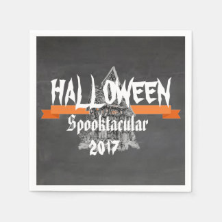 Rustic Chalkboard Halloween Spooktacular Napkins Paper Napkin