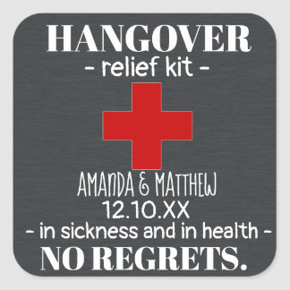 Rustic Chalkboard Hangover Relief Kit Favor Square Sticker