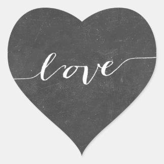 Rustic Chalkboard Heart Wedding Favor Stickers