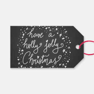 Rustic Chalkboard Holly Jolly Christmas Script Pack Of Gift Tags