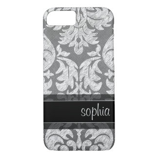 Rustic Chalkboard Lace Pattern Custom Name iPhone 8/7 Case