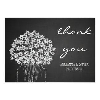 Rustic Chalkboard Mason Jar Flowers Thank You Card