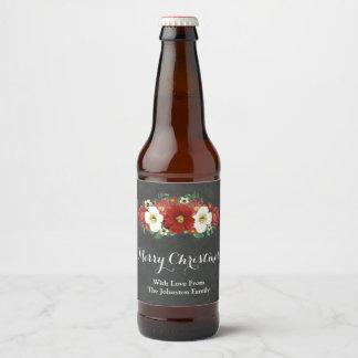 Rustic Chalkboard Red Floral Christmas Beer Label