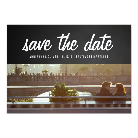 Rustic Chalkboard Save The Date | Couple Photo Card