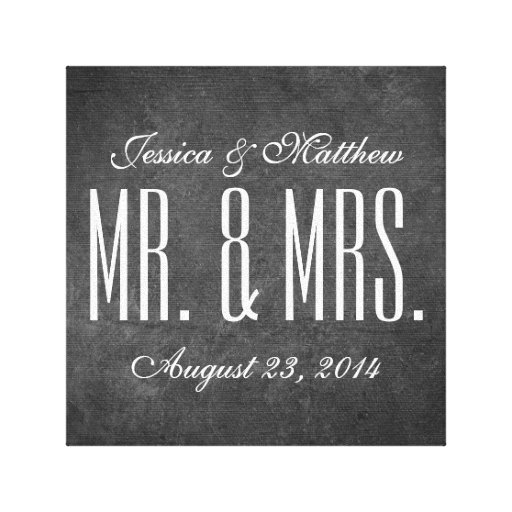Rustic Chalkboard Style Wedding Stretched Canvas Stretched Canvas Prints