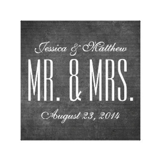 Rustic Chalkboard Style Wedding Stretched Canvas Gallery Wrap Canvas