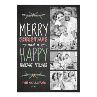 Rustic Chalkboard Typography Holiday Photo Card
