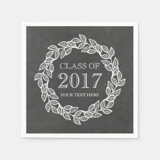 Rustic Chalkboard Wreath Class of 2017 Graduation Paper Napkins
