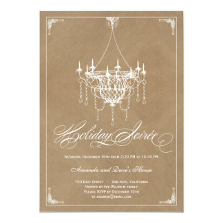 Rustic Chandelier Holiday Invitation - Crafty