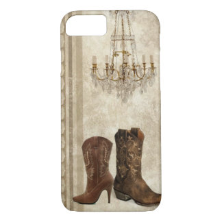 Rustic Chandelier Western country cowboy boots iPhone 8/7 Case