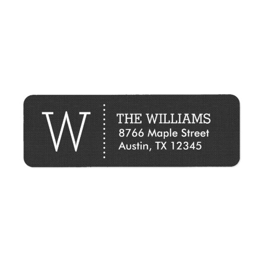 Rustic Charcoal Custom Monogram Return Address Label