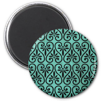 Rustic Charm Aqua Black Swirls Floral Grunge 2 Inch Round Magnet