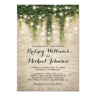 Rustic Chateau Stone Church String Lights Wedding Invitation