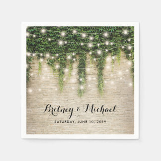 Rustic Chateau Stone Church String Lights Wedding Paper Napkin
