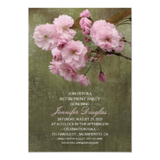 Rustic Cherry Blossom Floral Retirement Party Card