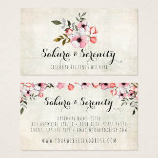 Rustic Cherry Blossom Sakura Natural Watercolor Business Card