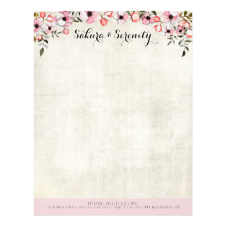 Rustic Cherry Blossom Sakura Natural Watercolor Letterhead