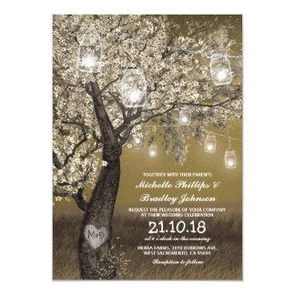 Rustic Cherry Tree & String Lights Wedding Card