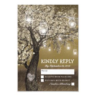 Rustic Cherry Tree & String Lights Wedding RSVP Card