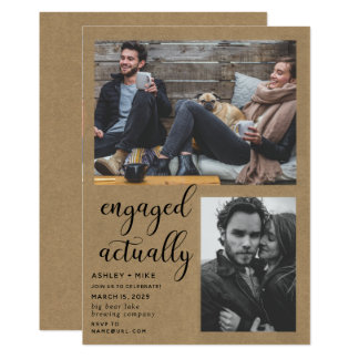 Rustic Chic 2 Photo Engagement Party Invite